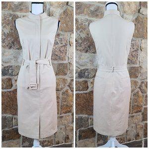 NWT Lafayette 148 Sleeveless Belted Khaki Dress 8